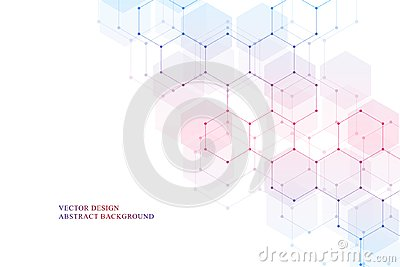 stock image of hexagonal molecular structure for medical, science and digital technology design. abstract geometric vector background.