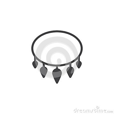 Necklace with shark tooth vector icon