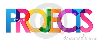 PROJECTS overlapping letters banner