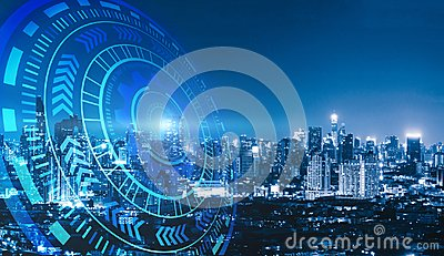stock image of smart city and technology circles. graphic design in bangkok