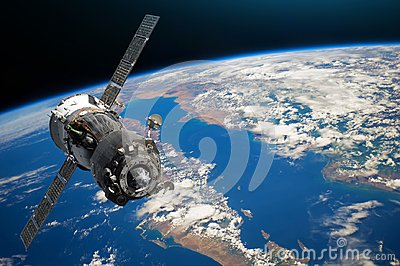 Spaceship piloted by astronauts in the orbit of planet Earth land and ocean, peninsula. Elements of this image furnished by NASA.
