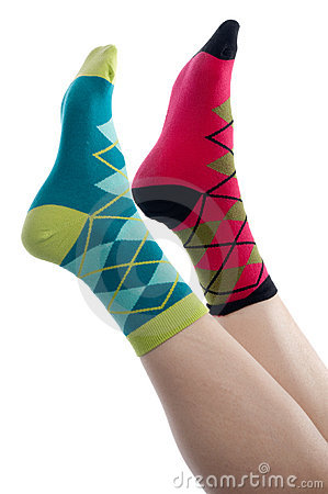 Vertical image brightly colored socks