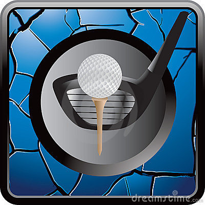 Golf ball on tee with club on blue cracked icon