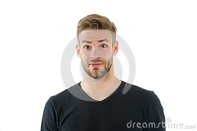 I did not expect that. Man with bristle surprised face isolated white background. Pleasant surprise concept. Man with