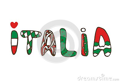 Italia doodle Lettering. Hand-lettered print. Vector typographic design.