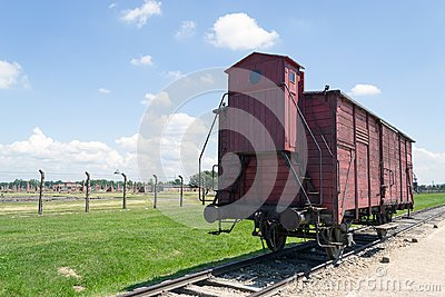 stock image of old transport train wagon, auschwitz-birkenau concentration camp