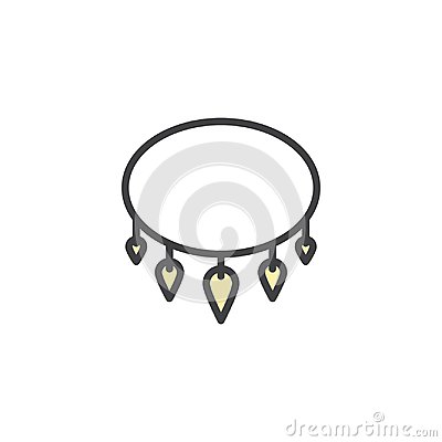 Necklace with shark tooth filled outline icon