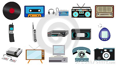 stock image of set of old retro vintage hipster technology, electronics music vinyl, audio and video cassette tape recorder tv game console phone