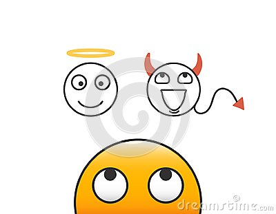 Good and evil concept. Emoticon character person looking at his conscience. Deciding between the good and the bad choice.
