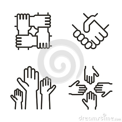 Set of hand icons representing partnership, community, charity, teamwork, business, friendship and celebration. Vector icon