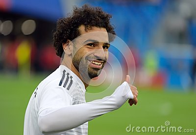Egyptian football star Mohamed Salah before World Cup 2018 match