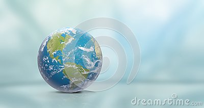 Planet Earth with clouds, North America and South America 3D-Illustration. Elements of this image furnished by NASA
