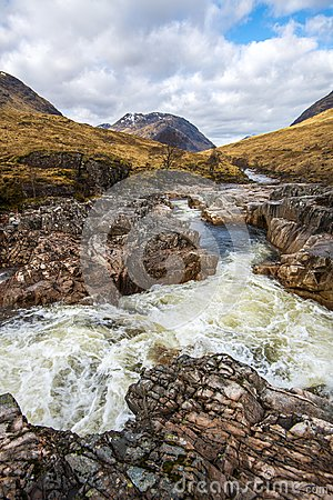 A beautiful waterfall on the River Etive in the Highlands of Scotland