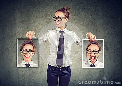 stock image of cheerful woman showing different photos with emotions