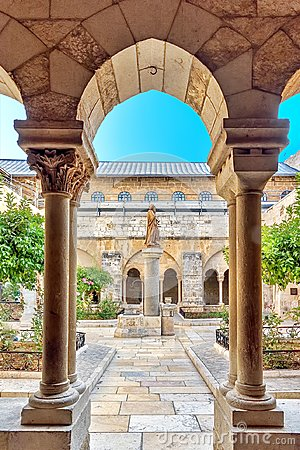 Bethlehem, Israel, 14th September 2017, View of the patio in the church or Nativety, from the monastery, outside is a green garden