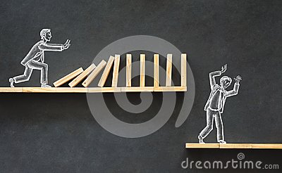 Domino Effect and Business Challenge Concept