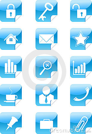 Blue web icons stickers set