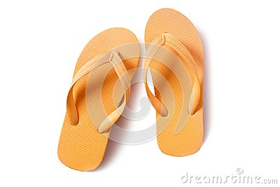 Flip flop beach sandals yellow isolated on white background