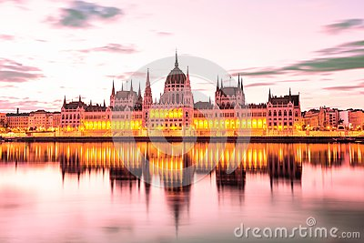 Parliament and riverside in Budapest Hungary during sunrise. Famous landmark in Budapest.