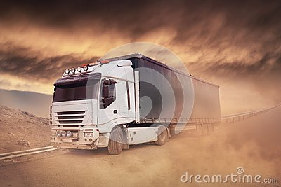 stock image of shipping truck on the highway- trucking, freight transport