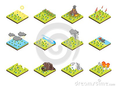 Nature Disaster Concept Set 3d Isometric View. Vector