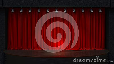 Act drape with red curtains.
