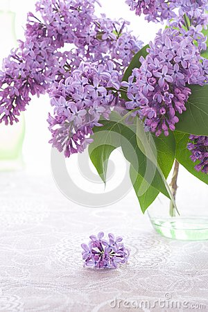 Bouquet or purple lilac is standing in green glass vase and small inflorescence is lying on flax tablecloth.