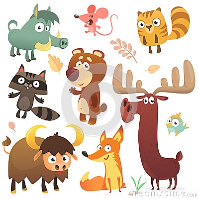stock image of cartoon forest animal characters. wild cartoon cute animals collections vector. big set of cartoon forest animals flat vector