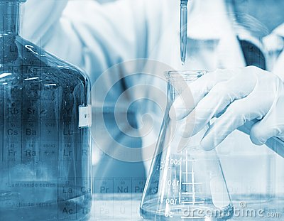 Scientist hand titration with burette and erlenmeyer flask, science laboratory research and development concept