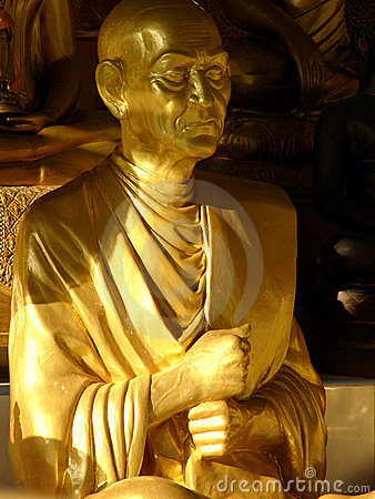 Golden monk statue