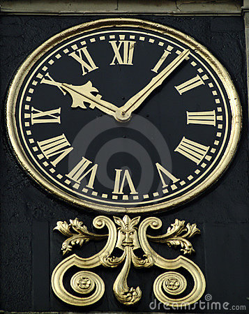 Guilded clock face