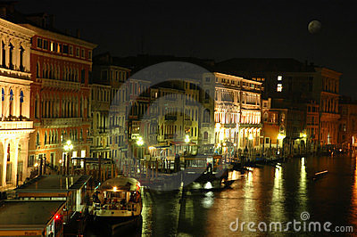 Along Rialto Bridge, Venice at Night