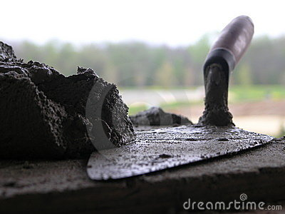 Bricklayers Trowel and Mortar