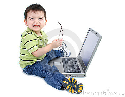 Adorable Boy With Glasses Working On Laptop Over White