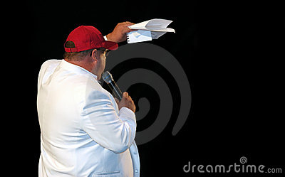 Fat man on stage