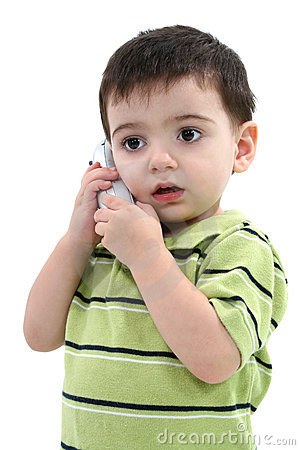 Adorable Toddler Boy Speaking On A Cordless Phone Over White