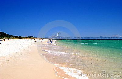 White beach, blue sky and clear sea on vacation