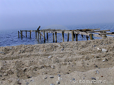 Destroyed bathing jetty