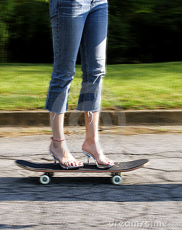 High heels on skateboard