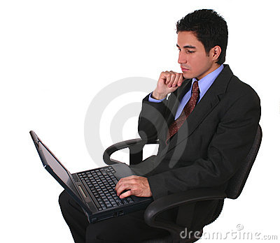 Businessman laptop and chair