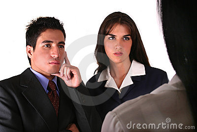 Businesswoman attending two clients