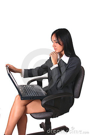 Businesswoman chair and laptop