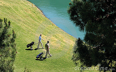 Golfers walking to their balls in a lake.