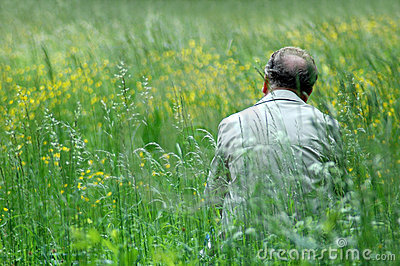 Man on green field