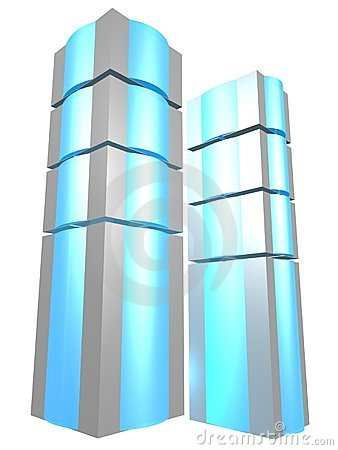 Two server towers with blue glass