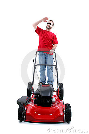 Man With Red Lawn Mower Over White