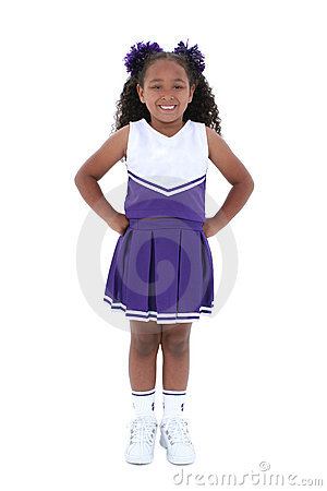 Beautiful Six Year Old Cheerleader Over White
