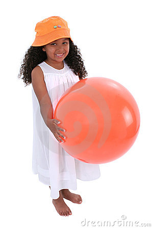 Smiling Child In Beach Hat And Dress With Orange Ball
