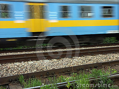 Suburban passenger train in motion