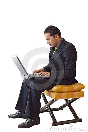 Business man laptop on a chair - je